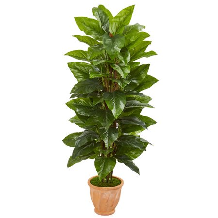 5' Large Leaf Philodendron Artificial Plant In Terra Cotta Planter (Real Touch) ()