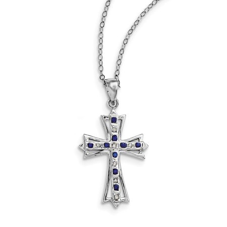 Sterling Silver & Platinum-plated Dia. & Sapphire 18in Cross Necklace