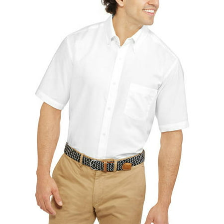 George Men's and Big Men's Short Sleeve Oxford Shirt up to 3XL Big One Satin Button