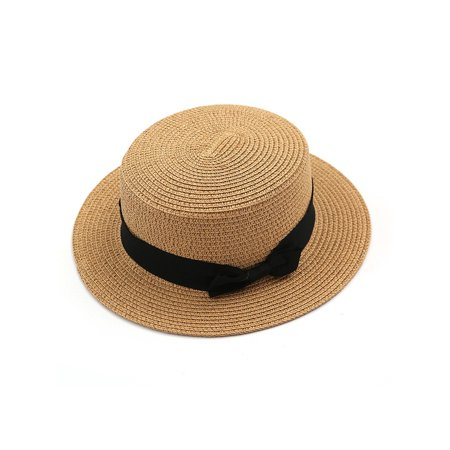 Women Holiday Straw Bowler Boater Sun Hat Round Flat Caps Wide Brim Beach ()