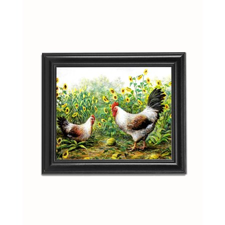 Rooster Chickens in Sunflowers #1 Black Framed 8x10 Art Print 1' Framed Art Print