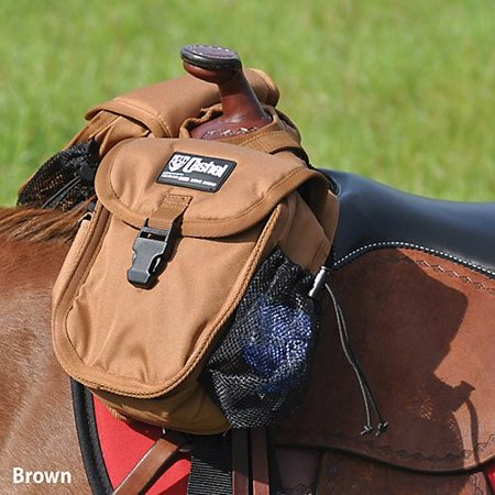 Deluxe Synthetic Saddle (Cashel Quality Deluxe Small Horse Saddle Pommel Horn Bag, Padded Pockets, Camera or Cell Phone Pocket, 600 Denier Material, Size: Small Color Choice: Black, Brown, or Camo)