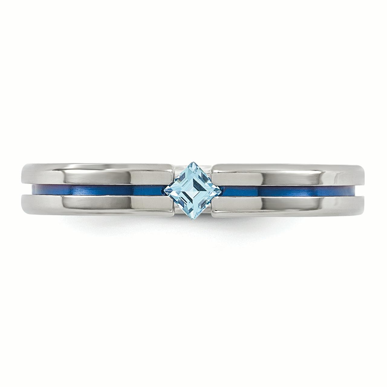 Edward Mirell Titanium Blue Topaz and Blue Anodized 4mm Band