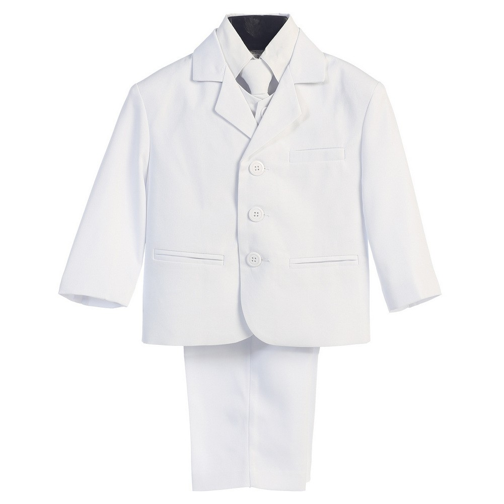 Boys White Wedding 5 Pcs Special Occasion Suit 18 Husky