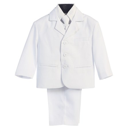 Boys White Wedding 5 Pcs Special Occasion Suit 18 Husky ()
