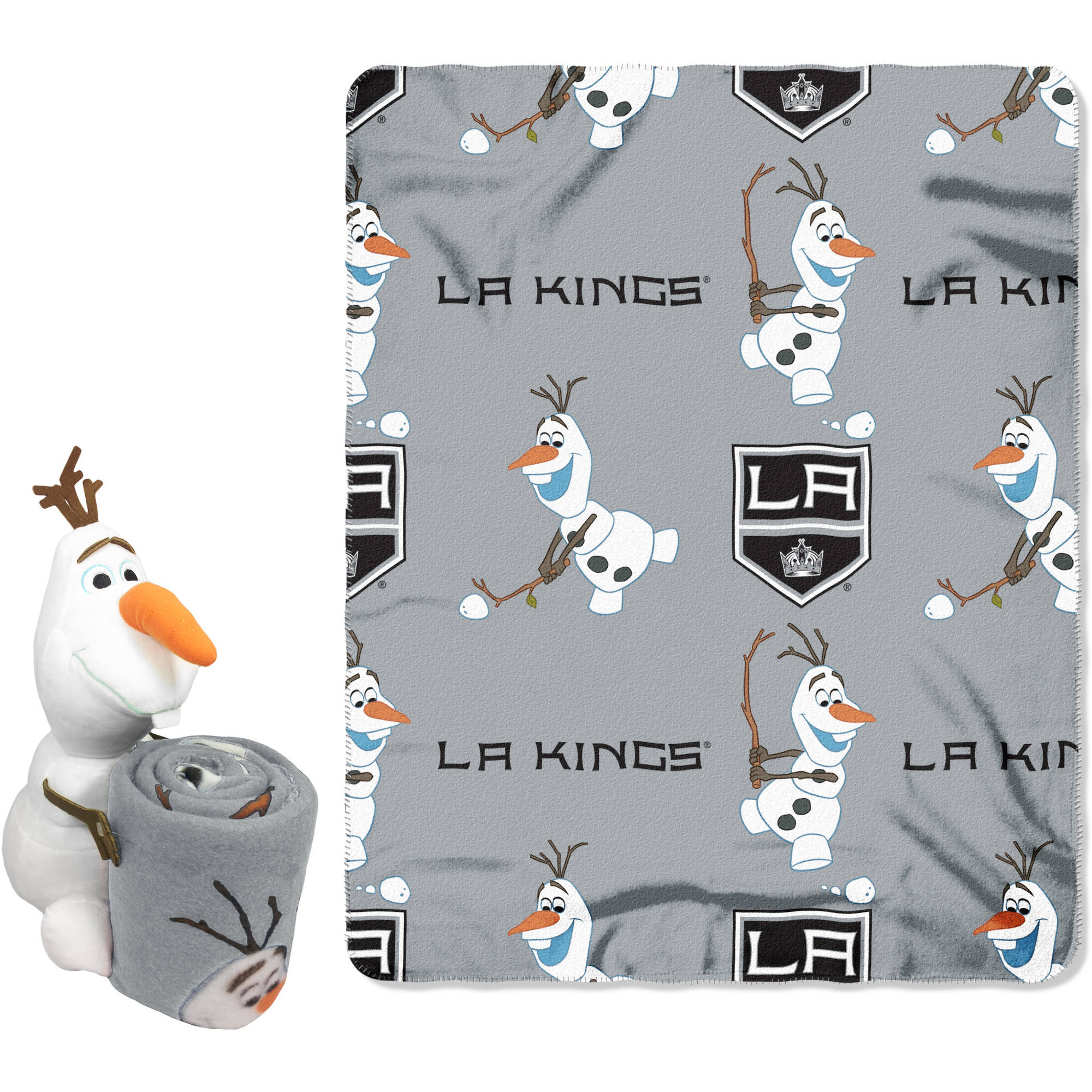 "Official NHL and Disney Cobrand Los Angeles Kings Olaf Hugger Character Shaped Pillow and 40""x 50"" Fleece Throw Set"