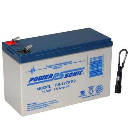 - Powersonic PS-1270 F2 - 12 Volt 7 Amp Hour Sealed Lead Acid Battery - Free Neptune LED Flashlight
