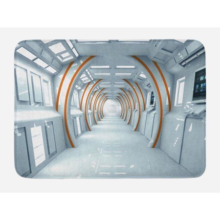 Fantasy Bath Mat, Futuristic Hallway of Spaceship Digital Architecture Sci Fi Style Inner View, Non-Slip Plush Mat Bathroom Kitchen Laundry Room Decor, 29.5 X 17.5 Inches, Baby Blue Orange,