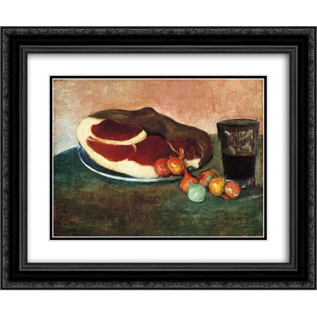 Meijer de Haan 2x Matted 24x20 Black Ornate Framed Art Print 'Still Life with Ham'