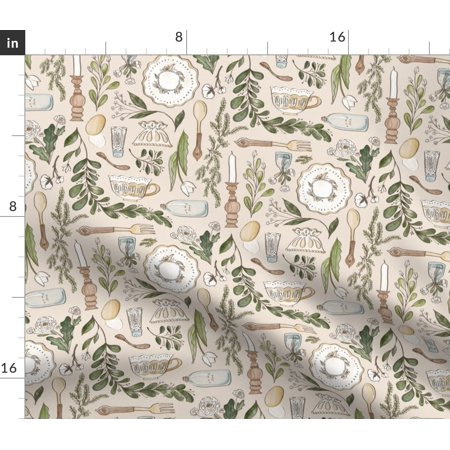 Modern Farmhouse Dining Table Setting Eggs Fabric Printed by Spoonflower BTY ()