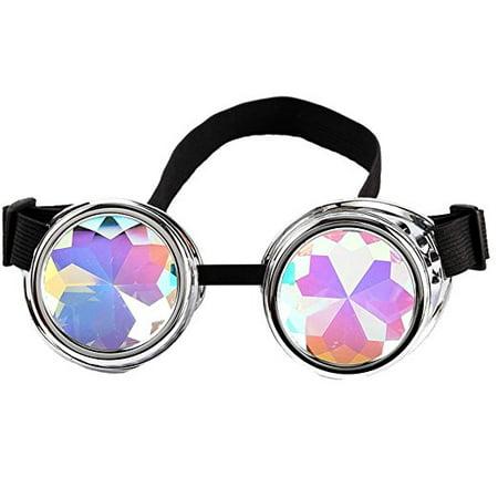 C.F.GOGGLE Steampunk Goggles Motorcycle Glasses Rainbow Kaleidoscope Festival  Goggles Aviator Biker Vintage (Aviators Goggles)