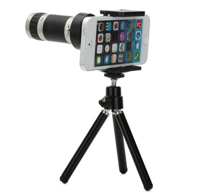 XoomBot® Camera Tripod with Universal Smartphone Mount, Telescope Lens, 8x Magnification