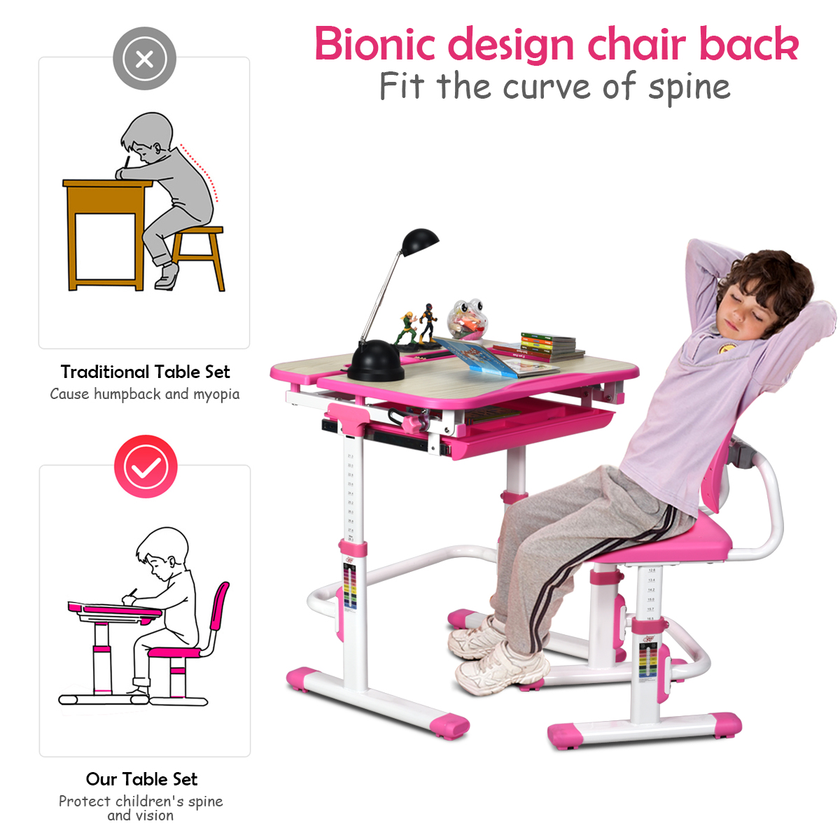 Image of: Large Drawers Storage Ergonomic Backrest Chair Kids Interactive Workstation Children Desk And Chair Set Adjustable Height Kids Study Table With Tilted Desktop Kids Furniture Sets
