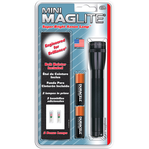 Mini MagLite 2-Cell AA Bulb Pack Flashlight, Black