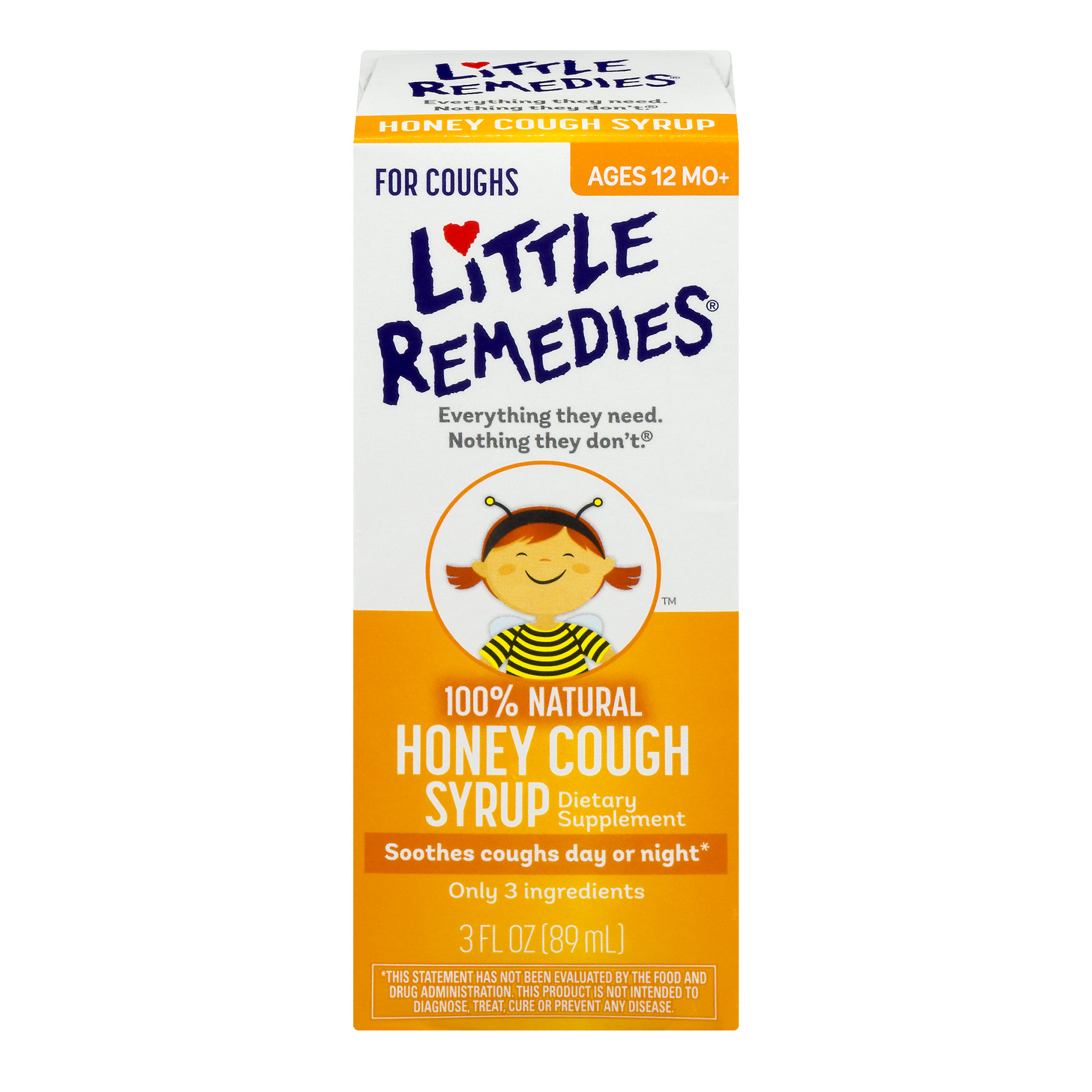 Little Remedies 100% Natural Honey Cough Syrup Dietary Supplement, 3.0 FL OZ