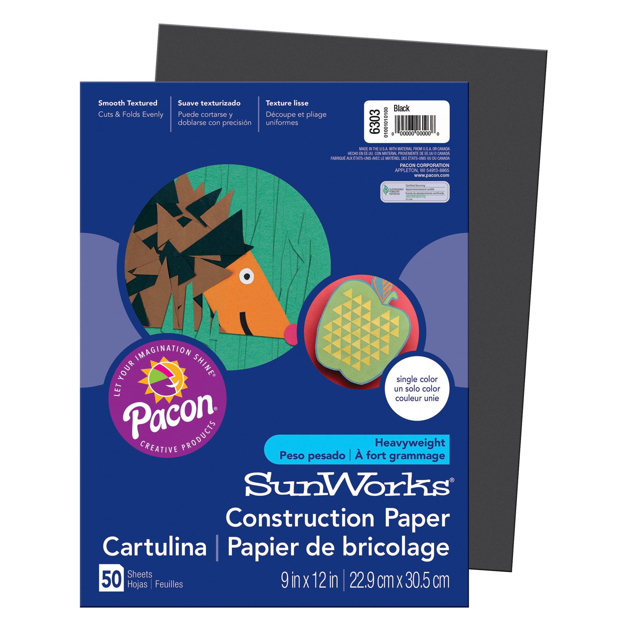 "Pacon® SunWorks® Construction Paper, 9"" x 12"", Black - 50 Sheets per pack, 25 packs"