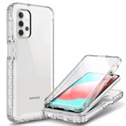 Samsung Galaxy A32 5G Phone Case with [Built-in Screen Protector], Nagebee Full-Body Shockproof Protective Bumper Cover, Support Wireless Charging, Impact Resist Durable Case (Clear)
