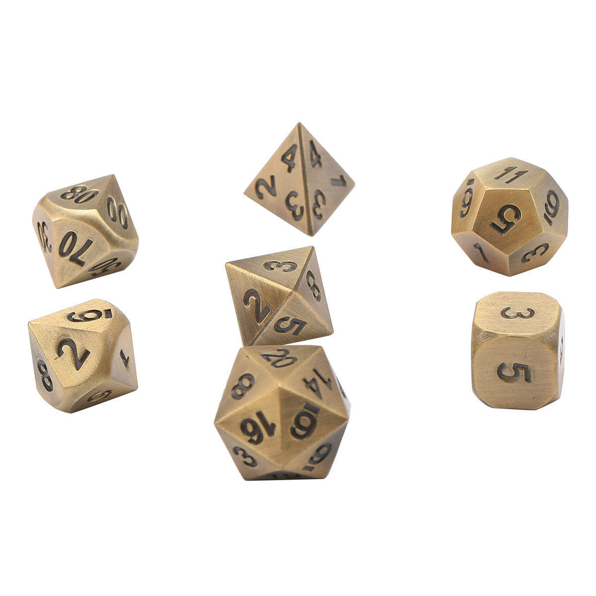 Moaere 7-Die Metal Polyhedral Dice Set Metal Case With Dice Pouch for Dungeons & Dragons Role Playing Game Pathfinder RPG and Math Teaching