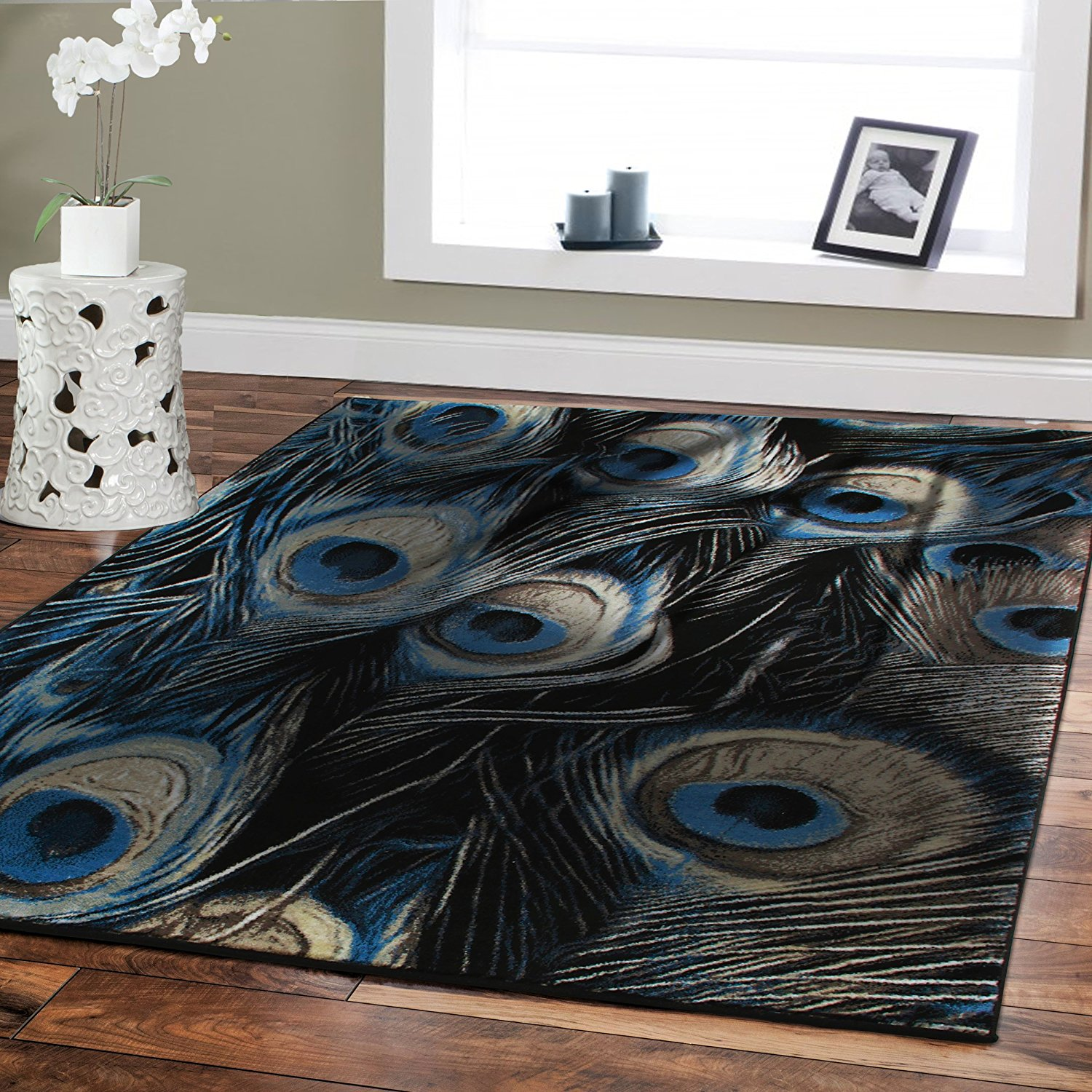 Premium Rugs Large High Quality Rugs for Living Room 5x8 Dining Room Rugs for Under the Table 5x7 Black Blue Peacock Rugs on Clearance