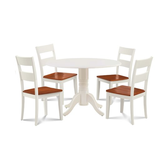 August Grove Horatio 5 Piece Drop Leaf Solid Wood Dining Set