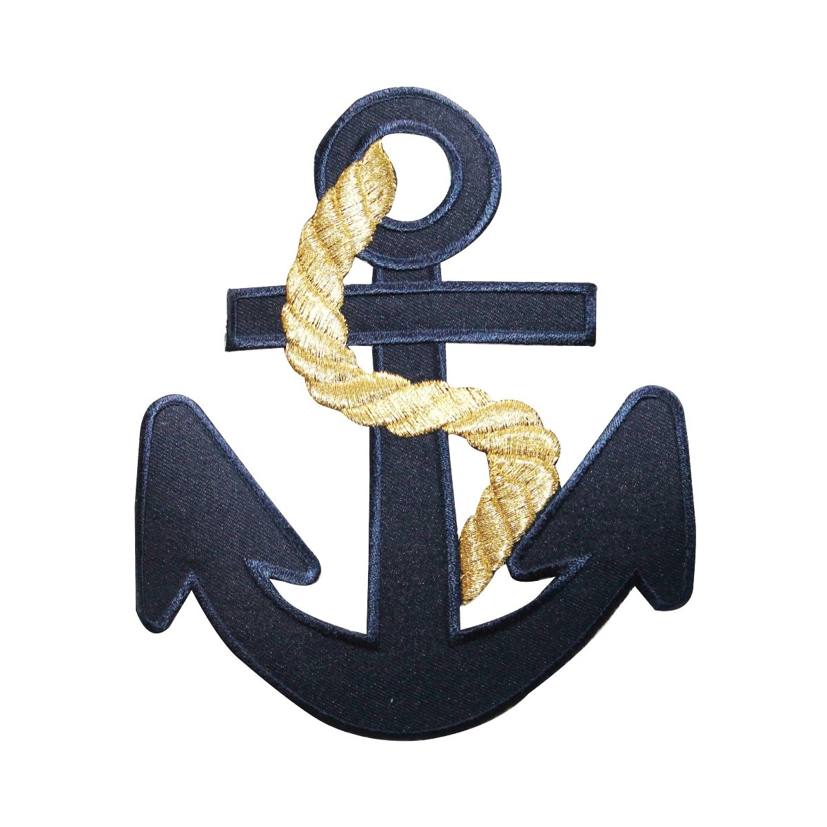 ID 5074 Navy Blue Anchor Large Patch Nautical Ship Embroidered Iron On Applique