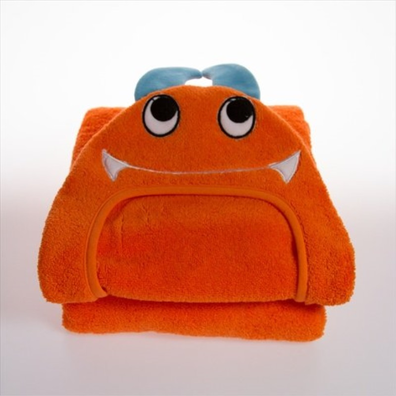 Little Ashkim Hooded Turkish Towel - Orange Monster - 0-24 months