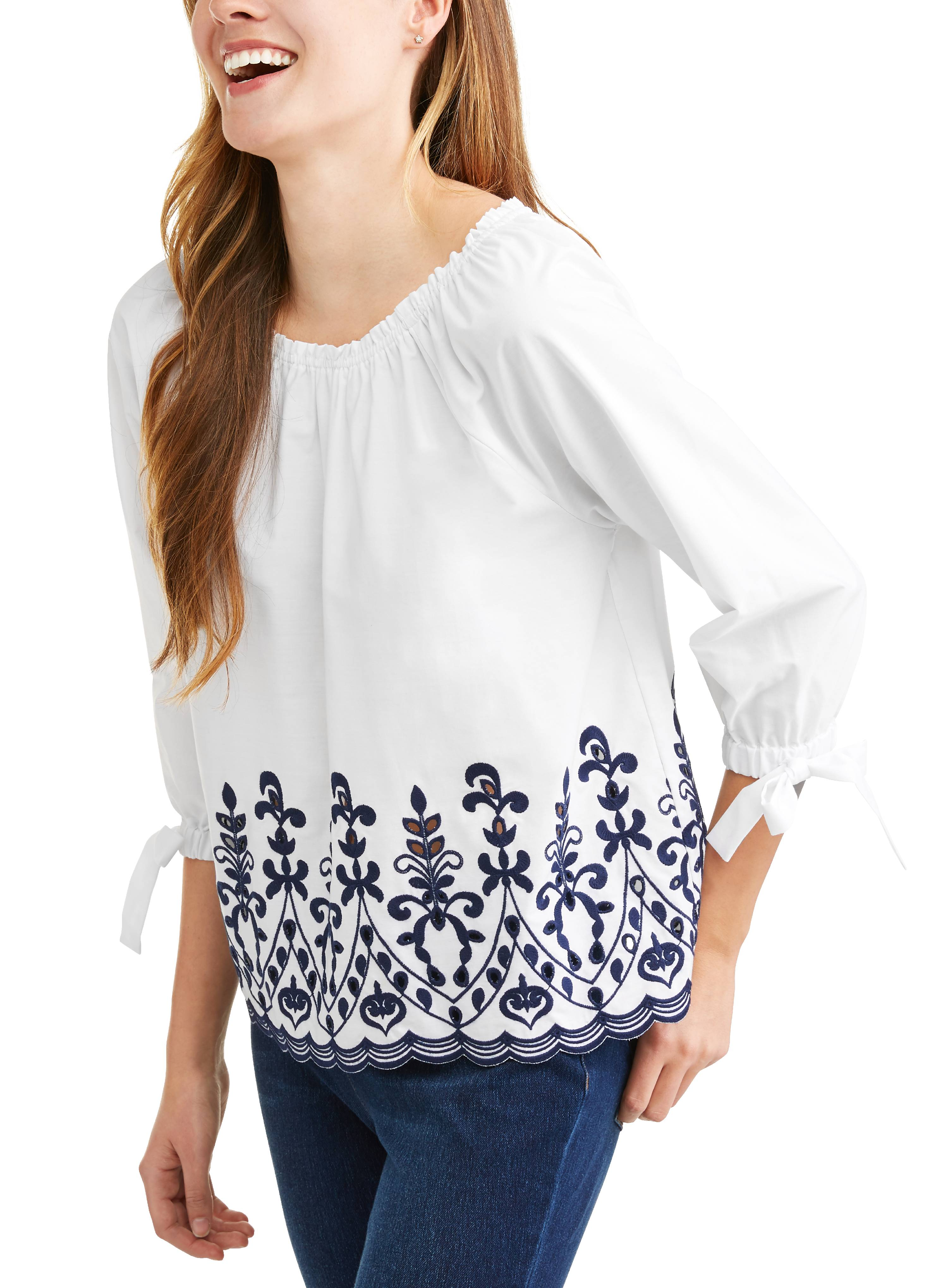 ffe286e854b85 Time and Tru - Women s Embroidered Tie Sleeve Top - Walmart.com