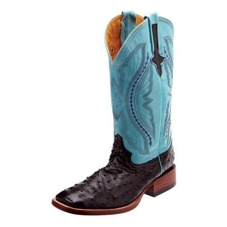 Ferrini Western Boots Mens Full Quill Ostrich Black Sky Blue 10193-04