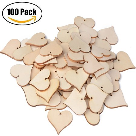 Blank Wooden Love Heart Tags ASTUBIA Wood Name Blessing Gift Slices With Hole Art Craft For Christmas Birthday Party Wedding Decoration100pcs