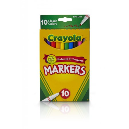 (2 Pack) Crayola Fine Tip Markers, Classic Colors, School Supplies, 10 Count