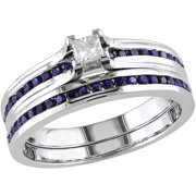 1/6 Carat T.W. Princess-Cut Diamond and 1/2 Carat T.G.W. Created Blue Sapphire Sterling Silver Bridal Set