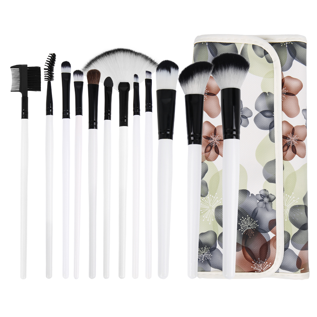 12 Pcs Pro Beauty Tool Powder Eyeliner Makeup Brushes w Flower Pattern Bag