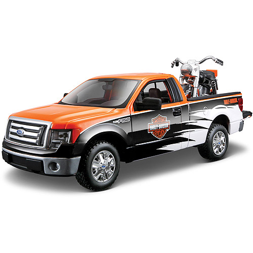 Harley Davidson Themed 1:24 1958 FLH Duo Glide + 1:24 Ford F-150 STX by Generic