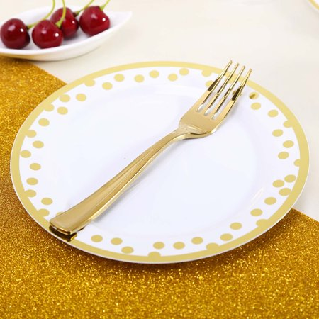 BalsaCircle 12 pcs 8-Inch wide White Plastic Dinner Plates with Gold Polka Dots Trim - Disposable Wedding Party Catering Tableware - Polka Dot Tableware