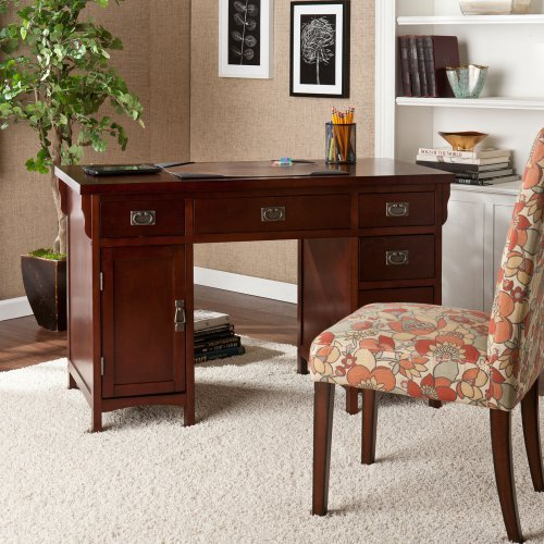 Southern Enterprises Miguel Computer Desk - Dark Cherry/Aged Bronze