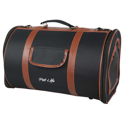 Pet Life Airline Approved Pet Carrier - Black & Brown