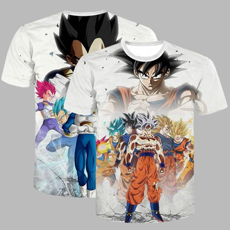 KABOER Goku 3D Print T Shirt Short Sleeve Dragon Ball Z T-Shirt Pullover Regular Men Tee ()