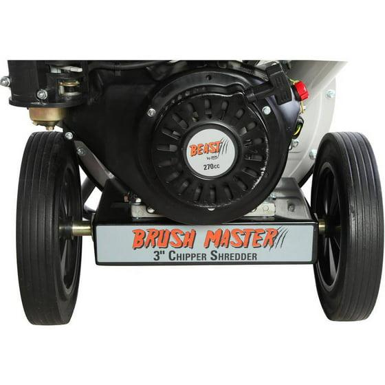 "Brush Master 3"" diameter feed, 3-in-1 top discharge 270cc Chromium Steel  Gas Wood Chipper"