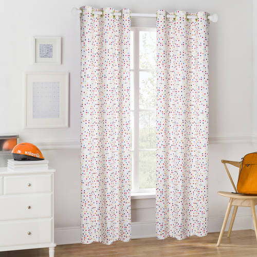 Mainstays Kids Colorful Squares Room Darkening Coordinating Window Curtain
