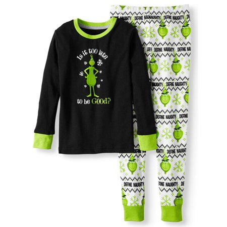 Holiday Family Pjs Long Sleeve Tee & Jogger Pants, 2-piece Pajama Set (Boys or Girls Unisex) - Halloween Pbs Kids
