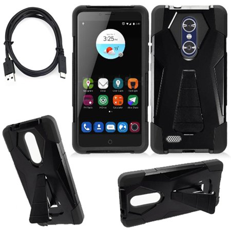 Phone Case for ZTE Blade X Max / ZTE Max XL / ZTE Zmax Pro 4g LTE C-Type USB Charger with Rugged Cover Wide Stand (Wide Stand Black-Black / C-Type USB) ()