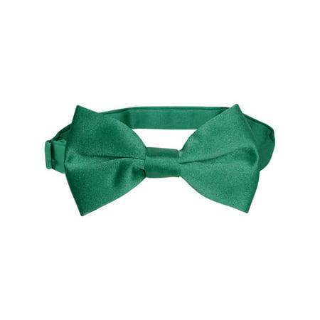 Vesuvio Napoli BOY'S BOWTIE Solid EMERALD GREEN Color Youth Bow Tie (Green Bowtie)