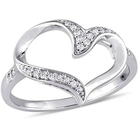 Miabella 1/10 Carat T.W. Diamond Sterling Silver Heart Ring