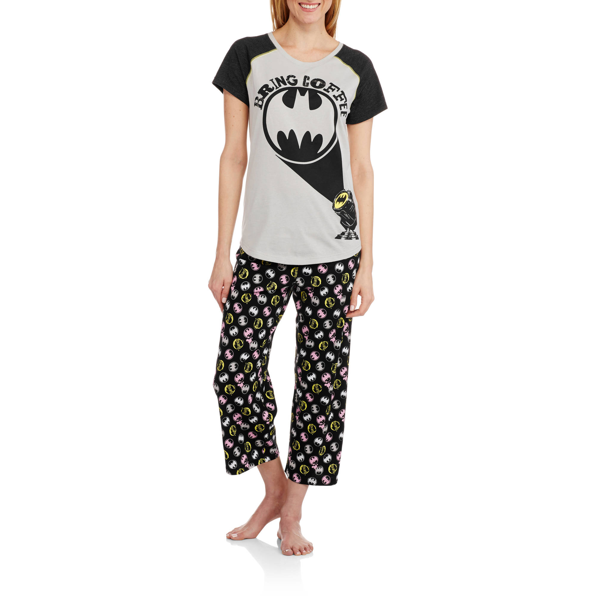 DC Comics Batman Women's Short Sleeve Shirt and Capri Sleepwear Set