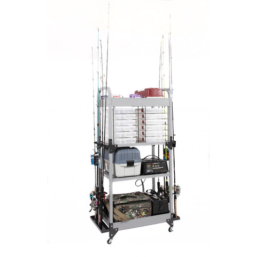 Tuff Stor by American Furniture Classics Heavy-Duty Metal Fishing Storage and Organizaton Tower