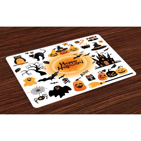 Halloween Placemats Set of 4 All Hallows Day Objects Haunted House Owl and Trick or Treat Candy Black Cat, Washable Fabric Place Mats for Dining Room Kitchen Table Decor,Orange Black, by Ambesonne - Halloween Placemat Printable