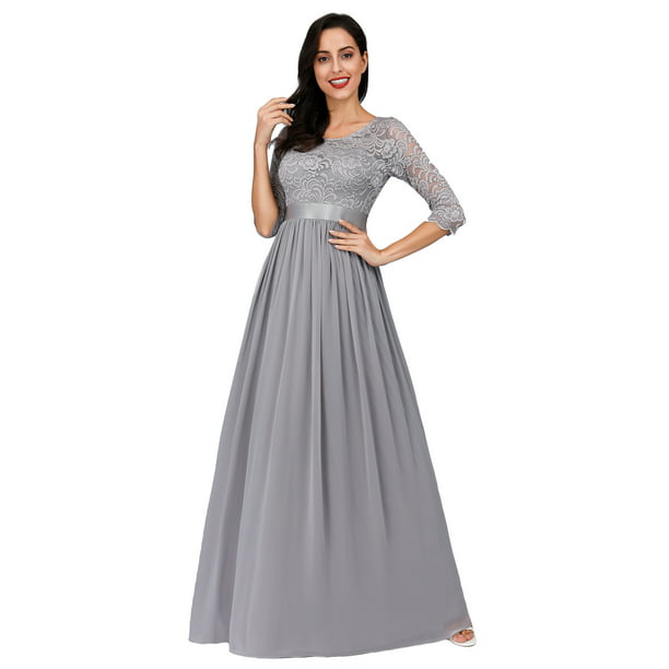 Ever Pretty Black Friday Womens Lace Plus Size Long Prom Dresses For Women 74123 Grey Us24 Walmart Com Walmart Com