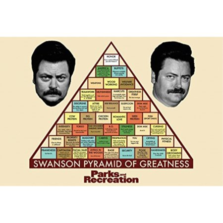 Parks and Recreation Swanson Pyramid of Greatness Television Poster 34 x 22in ()