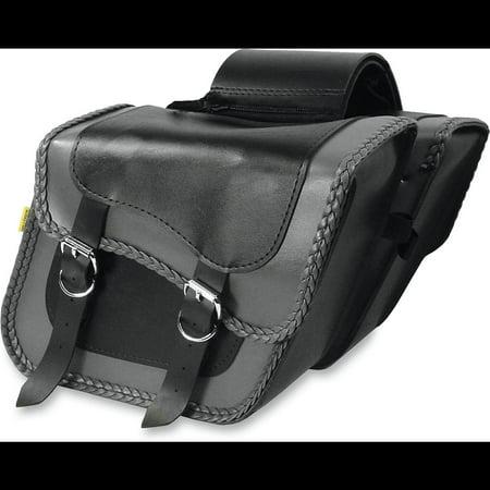 Willie & Max 58705-20 Gray Thunder Braided Compact Slant Saddlebags