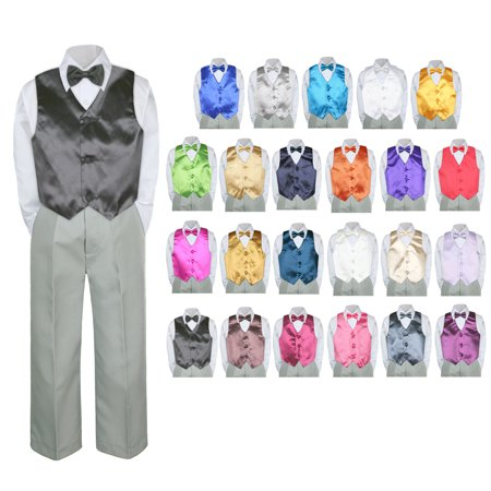 Snow White Outfit Kids (4PC Shirt Gray Pants Vest & Bow tie Set Baby Boy Toddler Kid Formal Suit)